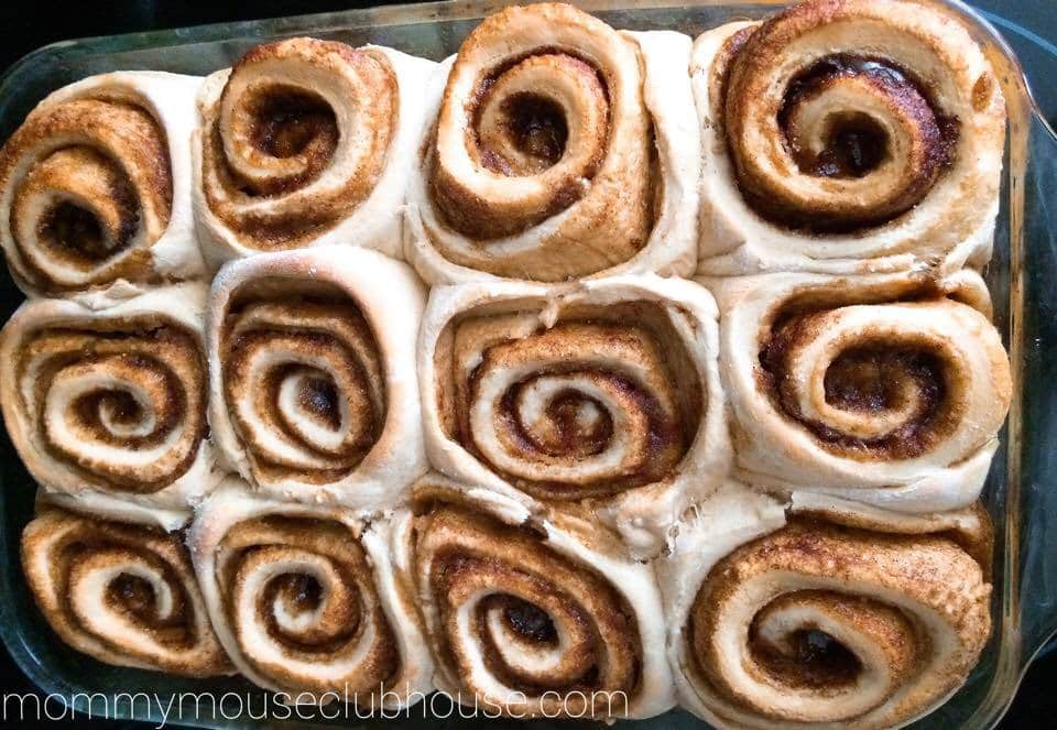 Freshly baked Cake Mix Cinnamon Rolls in a baking dish.