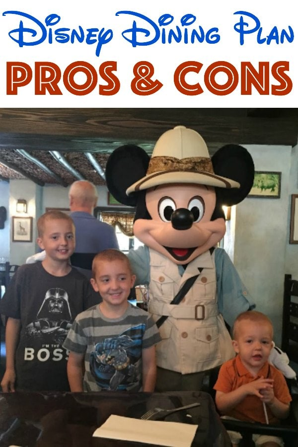 "Text ""Disney Dining Plan Pros & Cons"", A group of Children posing for a picture with Mickey Mouse"
