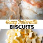 """Buttermilk biscuits on a plate, text, """"Honey Buttermilk Biscuits"""", cubes of butter on a plate"""
