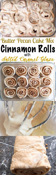 Butter Pecan Cake Mix Cinnamon Rolls with Salted Caramel Glaze