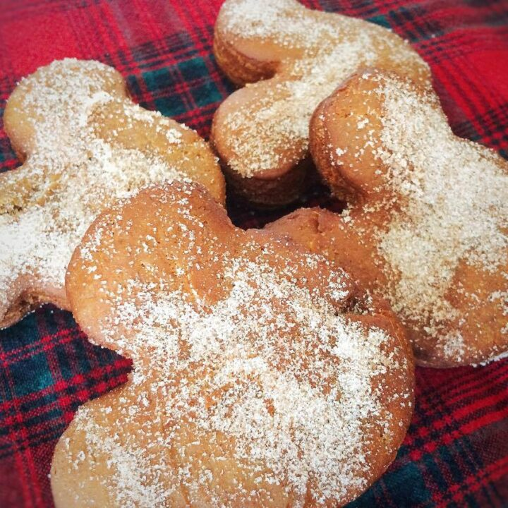 Mickey Mouse gingerbread beignets on a plaid background.