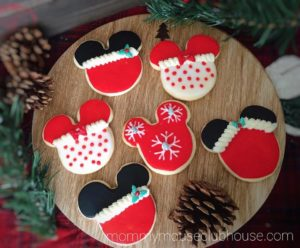 mickey mouse christmas cookies made from the best sugar cookie recipe with pine cones and pine - How To Decorate Christmas Cookies