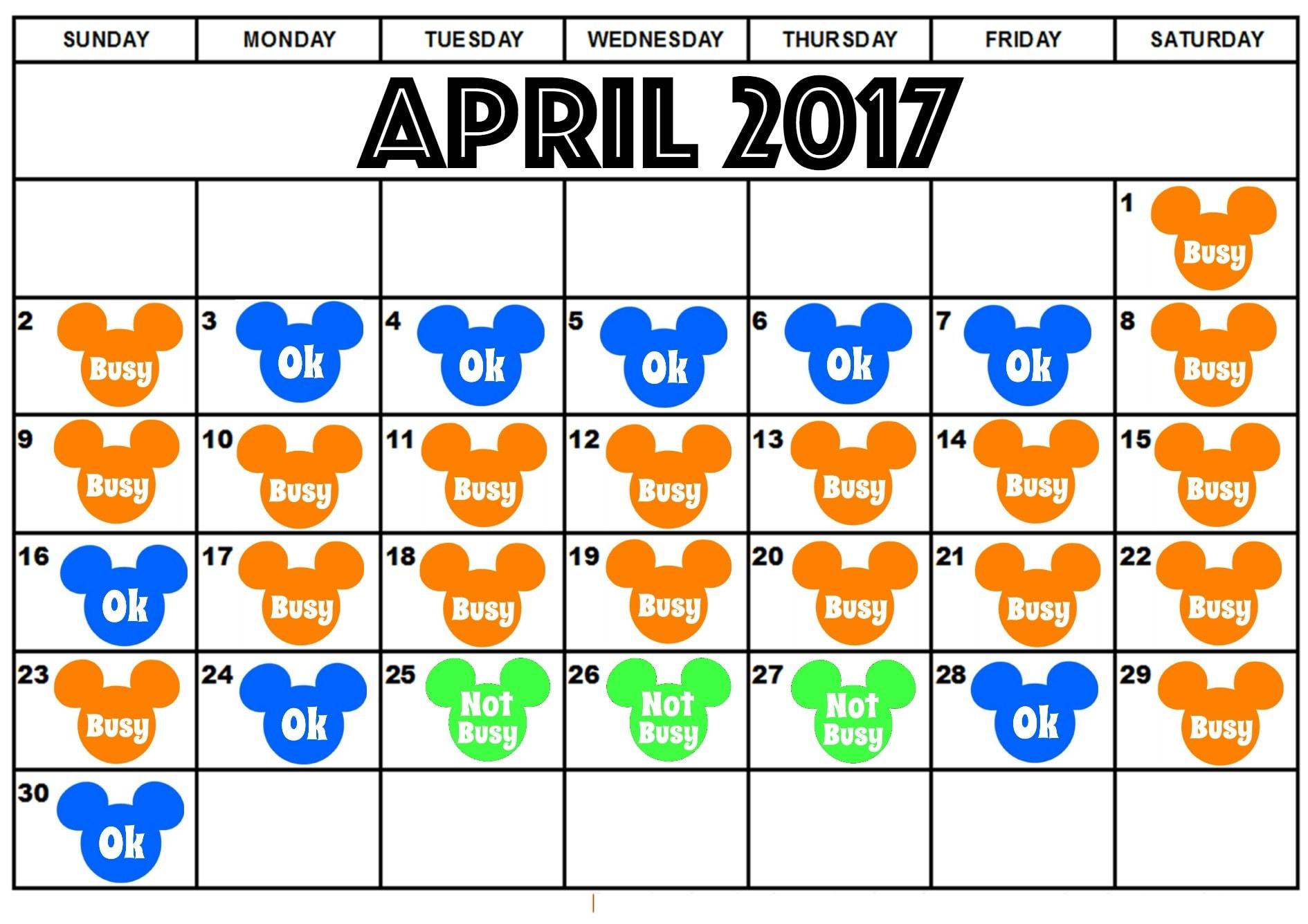 Disneyland April Crowd Calendar