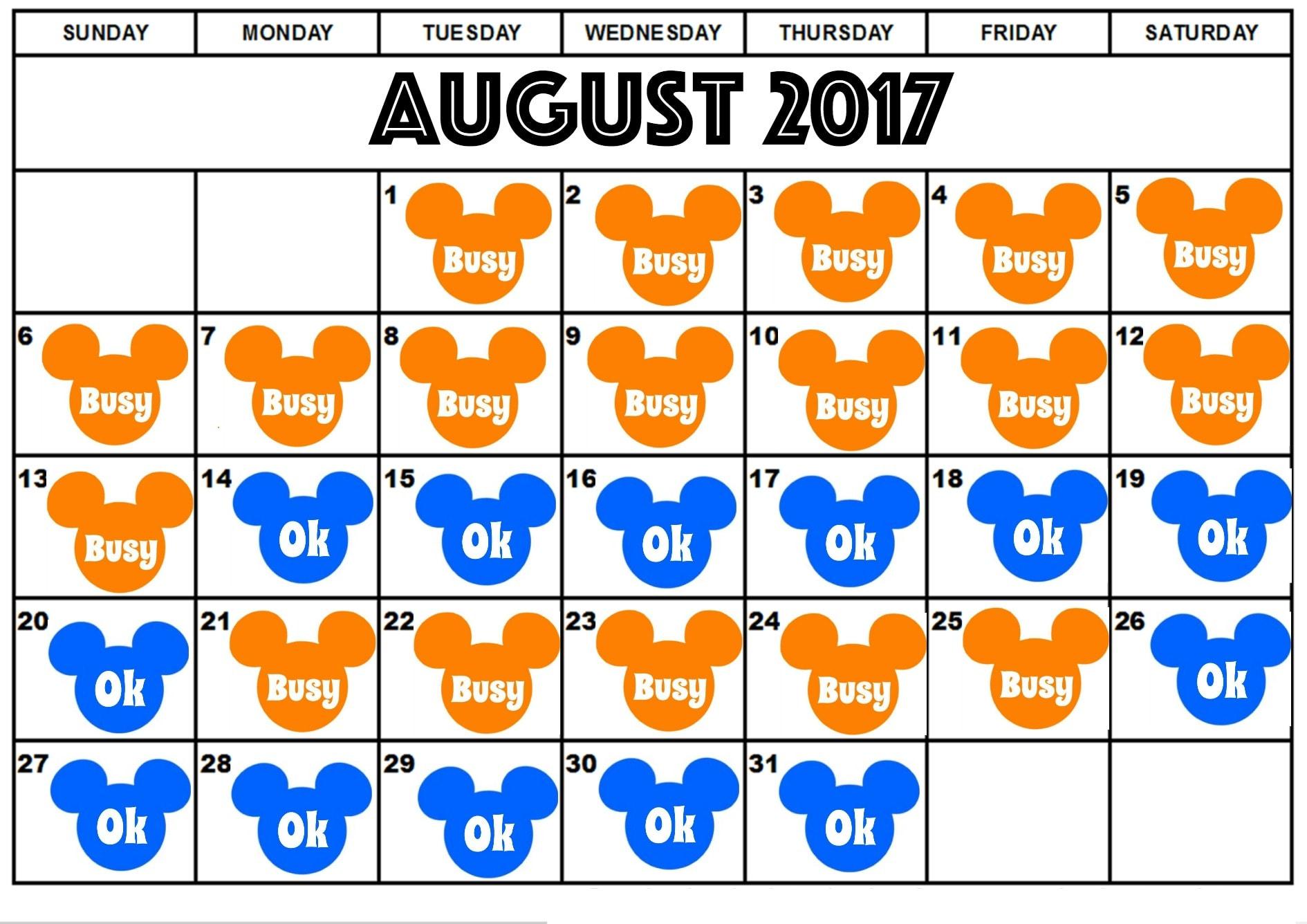 Disneyland August Crowd Calendar