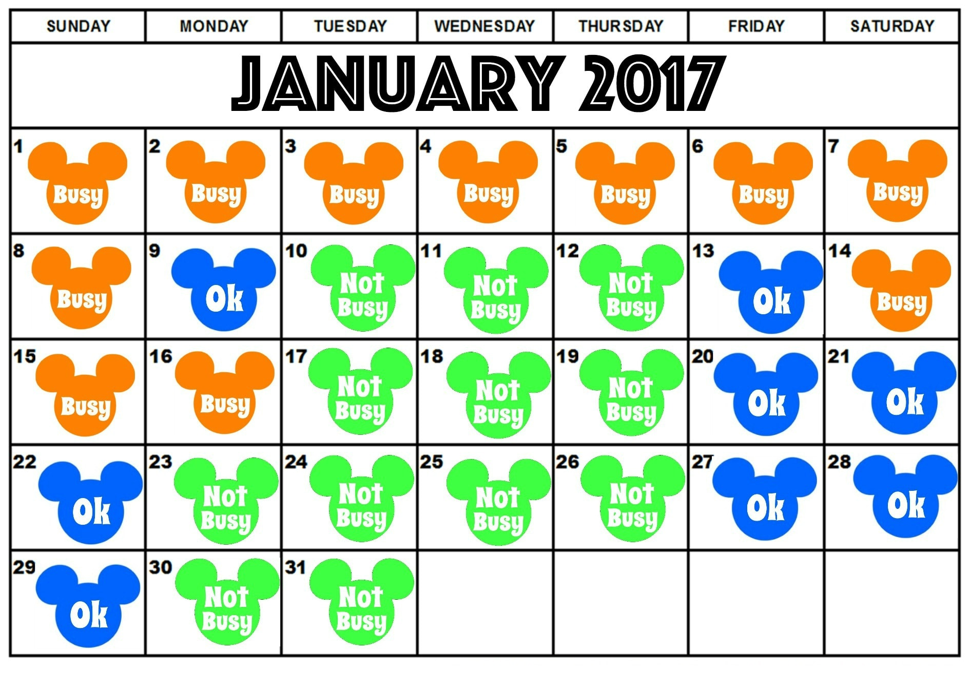 Disneyland Crowd Calendar January