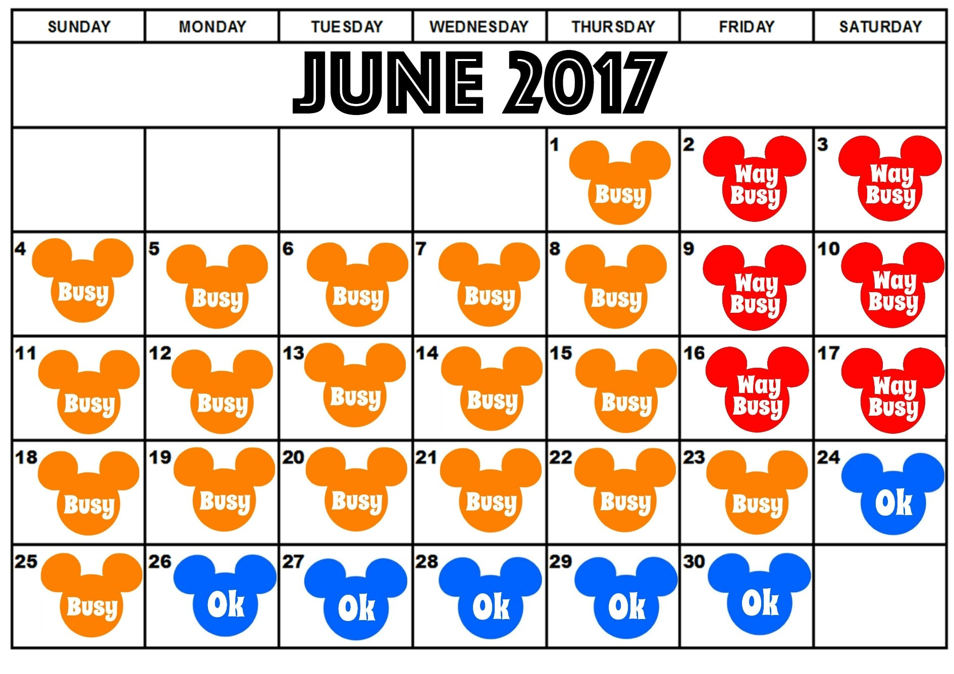 Disneyland June Crowd Calendar