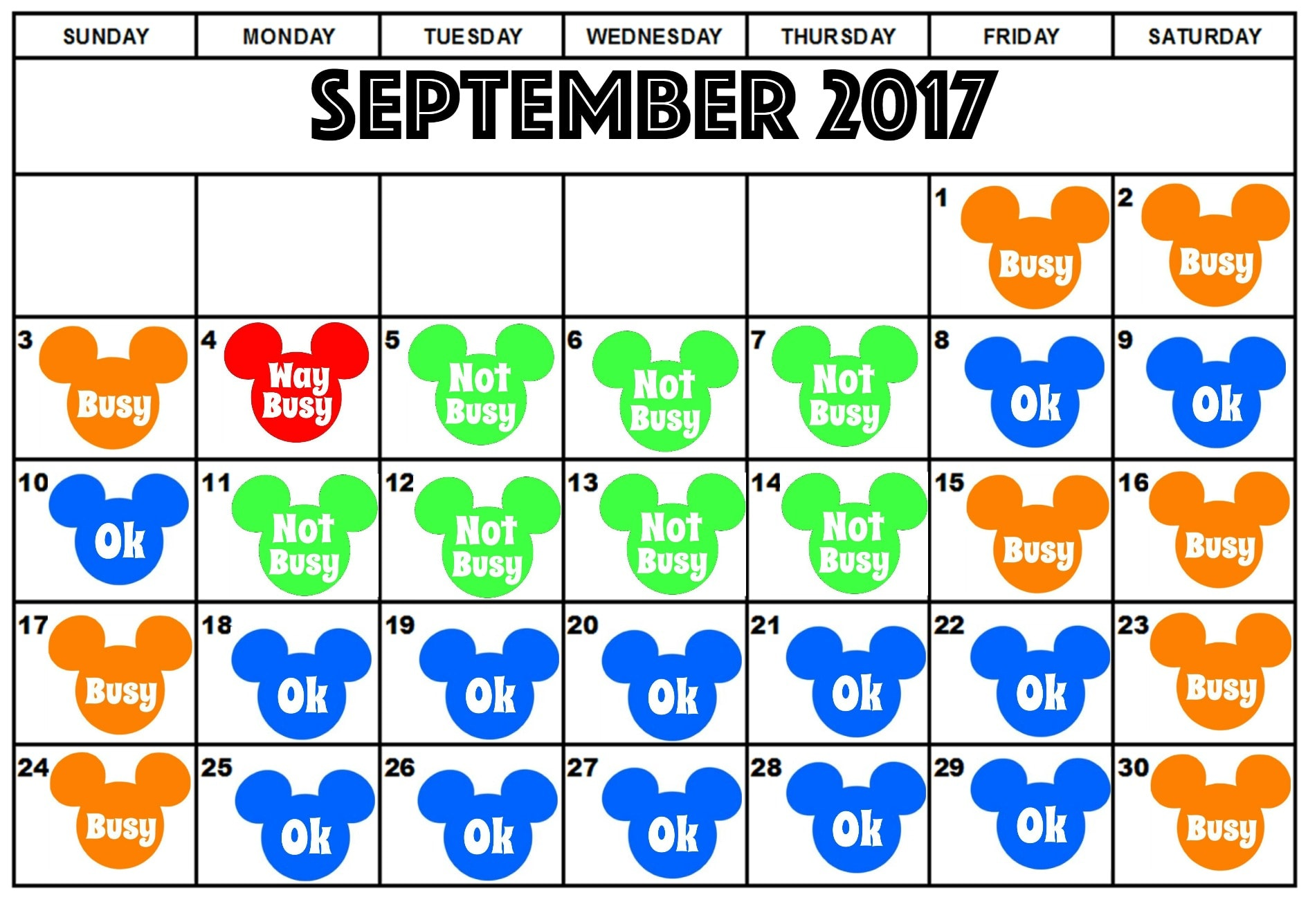 Disneyland September Crowd Calendar