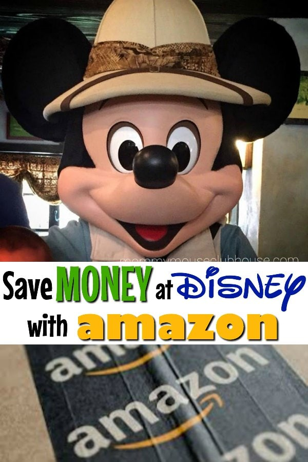 "Mickey Mouse in a safari hat, text ""Save Money at Disney with Amazon"" and an amazon box."