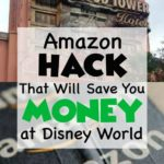 "Tower of Terror and Amazon box with text overlay that says: ""Amazon Hack That Will Save You Money at Disney World"""