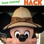 "Text ""Disney World Amazon Hack Save Money"" and Mickey in a safari hat."