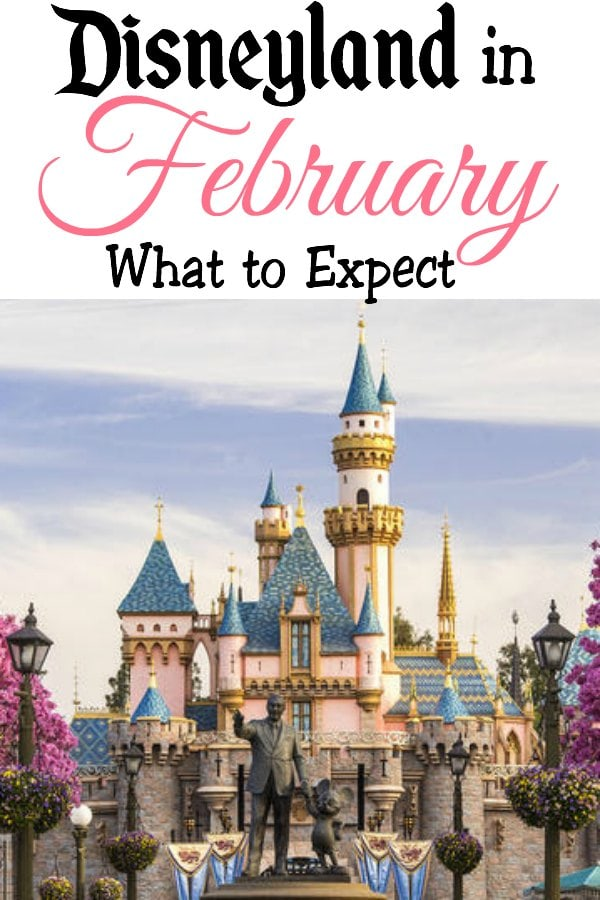 "Text, ""Disneyland in February What to Expect"", Sleeping Beauty's Castle at Disneyland"