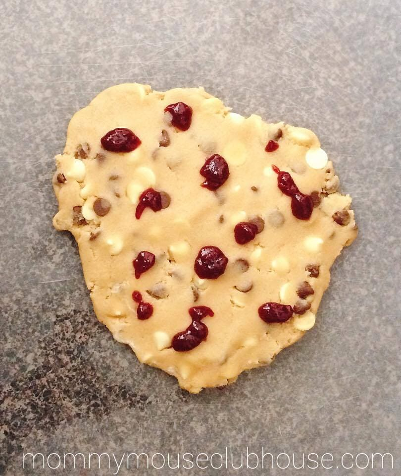 Cookie dough with raspberry preserves