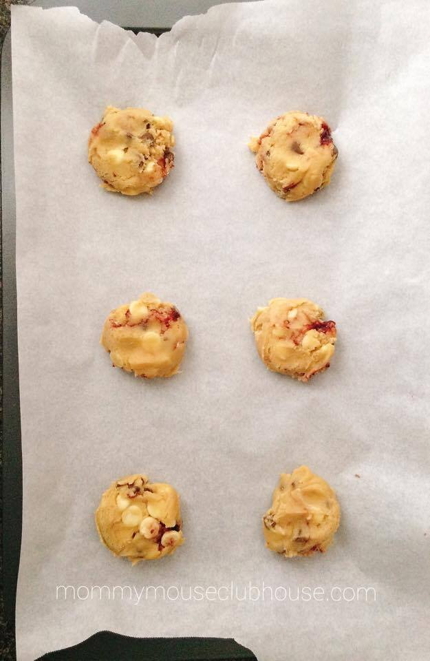 Unbaked Raspberry White Chocolate Cookies