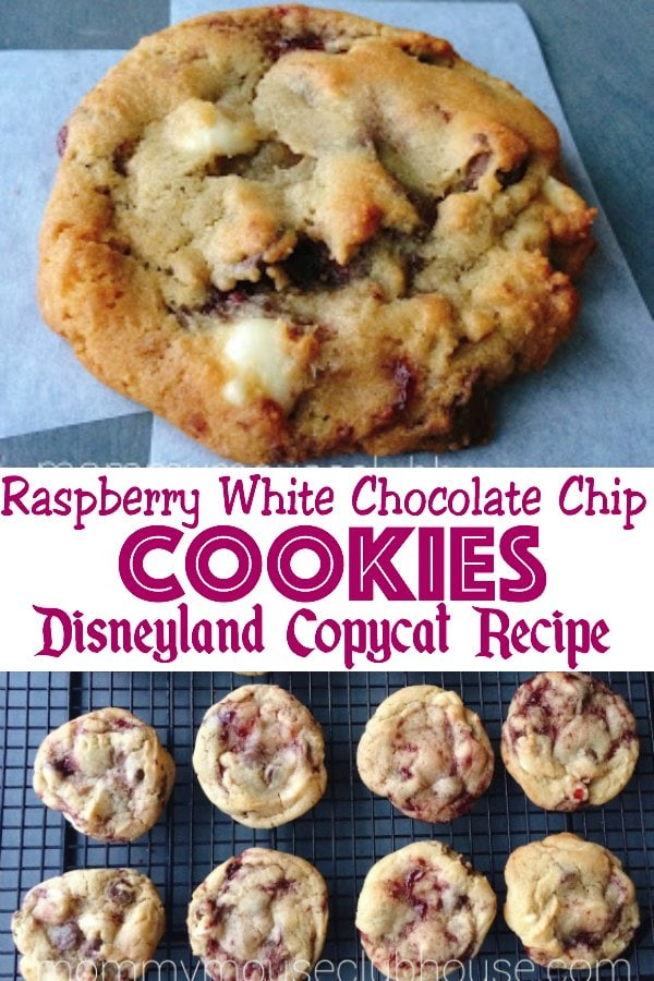 "A single chocolate chip cookie, text ""Raspberry White Chocolate Chip Cookies Disneyland Copycat Recipe"", cookies on a cooling rack."