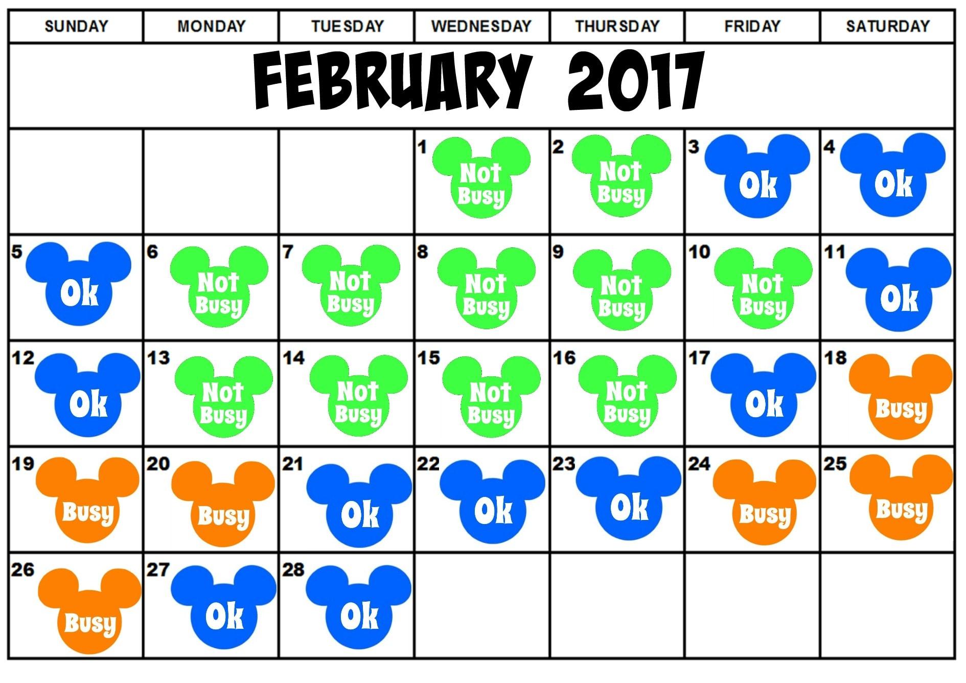 WDW Crowd Calendar February 2017