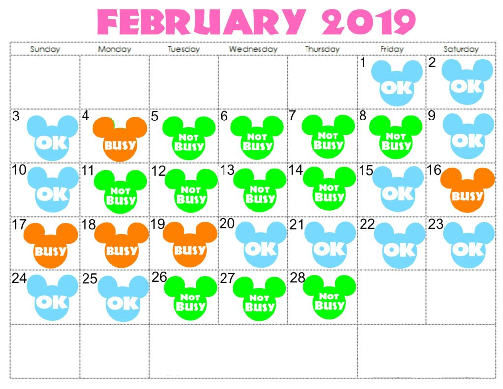 A colorful February 2019 calendar showing the best days to visit Disney World in February