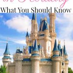 """Text """"Disney World in February What You Should Know"""" over a picture of Cinderella's Castle"""
