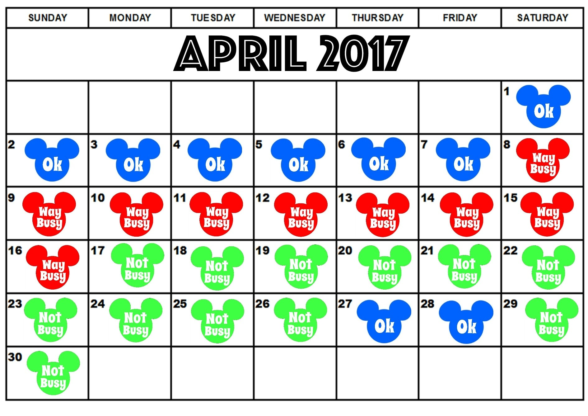 Disney World Crowd Calendar for April