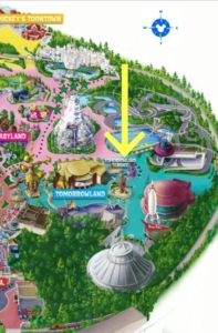 Map of Tomorrowland showing the location of Jedi Training at Disneyland