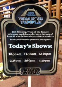 Sign that shows Jedi Training Trials of the Temple showtimes at Disneyland
