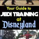 Pinterest Image for Jedi Training at Disneyland. Darth Vader fighting a young Jedi with a light saber.