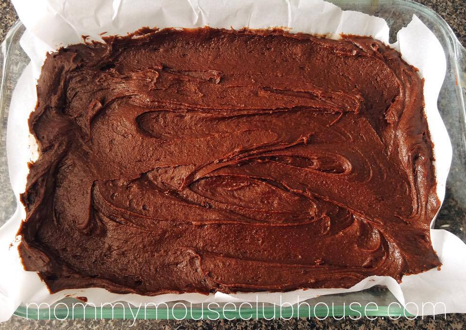 Brownie batter spread in a pan to make Thin Mint Brownies