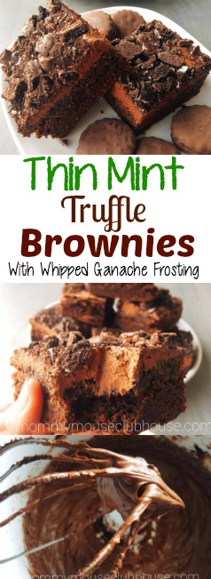 Thin Mint Truffle Brownies with Whipped Ganache Frosting