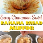 """A muffin with the wrapper half off, text """"Easy Cinnamon Swirl Banana Bread Muffins"""" a toothpick swirling muffin batter."""