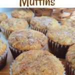 """Text """"Banana Bread Muffins"""" A picture of muffins"""