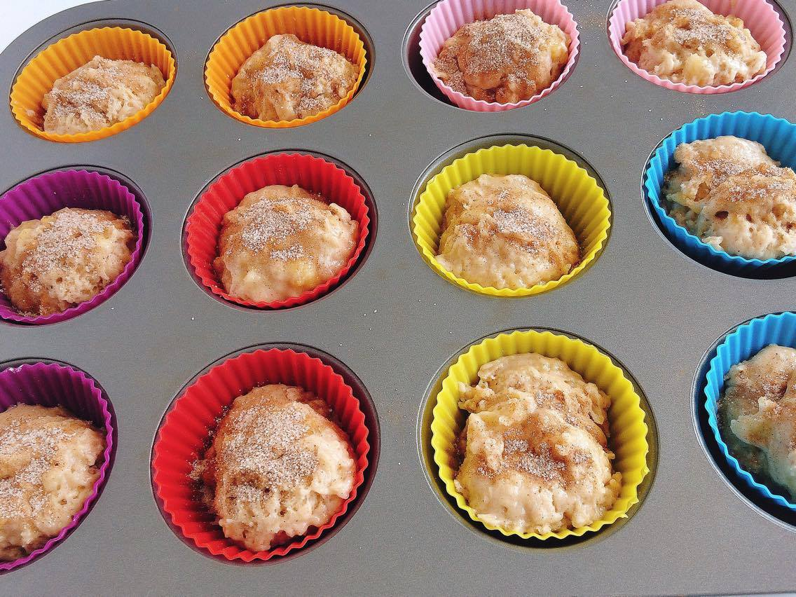 Cinnamon Swirl Banana Muffins in silicone wrappers