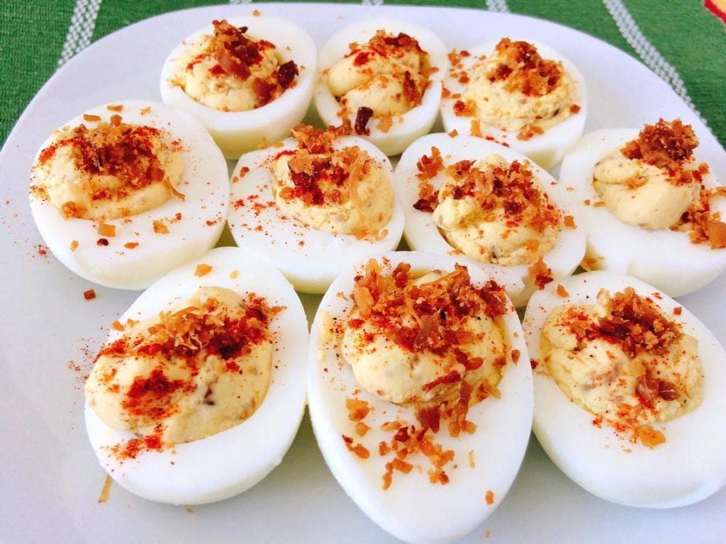 Crack Deviled Eggs on white plate