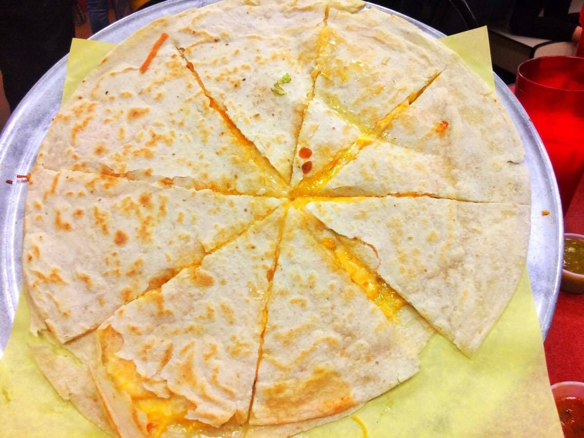 Hub cap sized Cheese Quesadilla from Los Sanchez