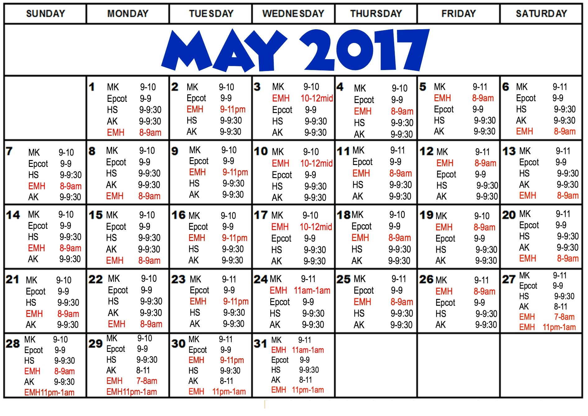Disney World Park Hours for May 2017