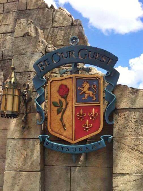 Sign for Be Our Guest Restaurant in Magic Kingdom at Walt Disney World.