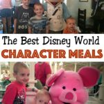 "Three little boys posing with Mickey Mouse, Text ""The Best Disney World Character Meals"", Two boys posing with Piglet from Winnie the Pooh"