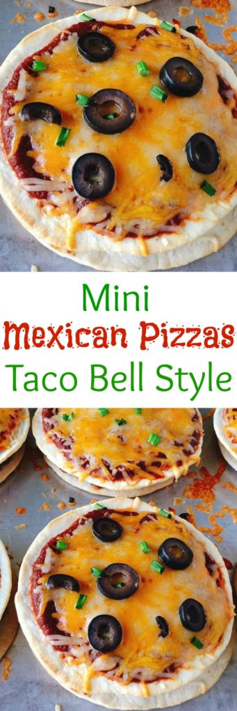 An easy mini copycat recipe of Taco Bell's Mexican Pizzas.