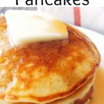 "A stack of Sweet Cream Pancakes with a pat of butter, text ""Sweet Cream Pancakes"""