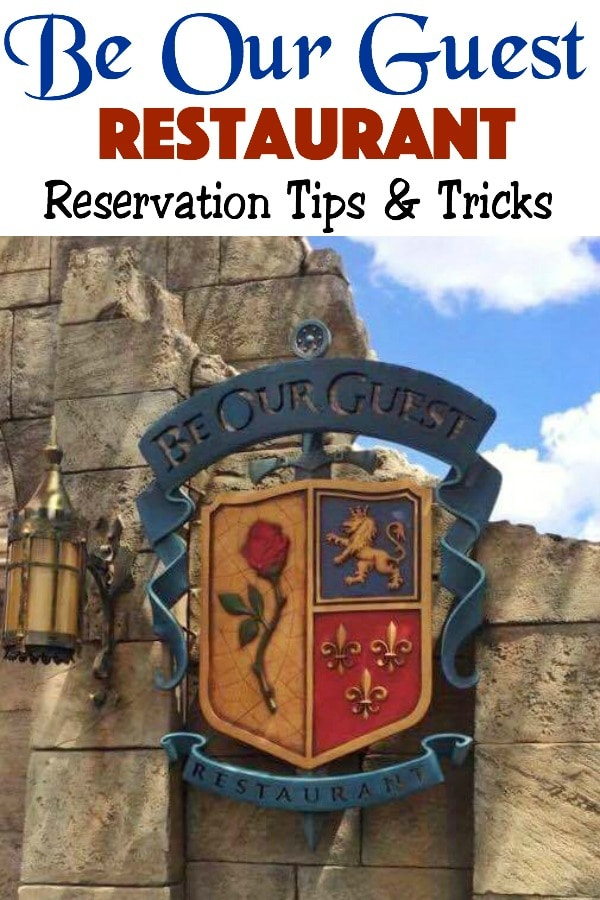 """Text """"Be Our Guest Restaurant Reservation Tips & Tricks"""" a picture of the Be Our Guest Restaurant sign"""