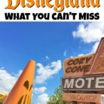 "Text, ""Halloween Time at Disneyland What You Can't Miss"", Cozy Cone Motel at Disneyland decorated for Halloween"