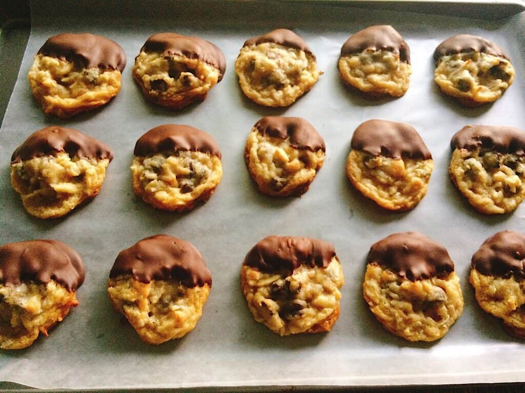 Chocolate chip cookies dipped in chocolate