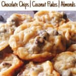 Almond Joy Cookies, Chocolate chips, coconut flakes, almonds