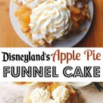 A funnel cake on a plate topped with apple pie filling, caramel sauce and a Mickey Mouse shaped head of whipped cream.