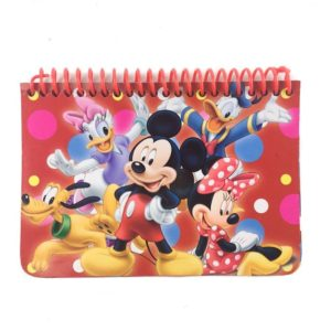 A red notebook with Mickey, Minnie, Donald, Daisy, and Pluto