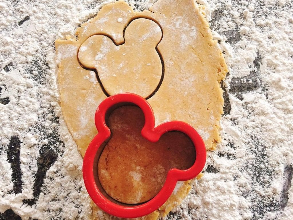 Pumpkin Spice Sugar Cookie dough and a Mickey Mouse cookie cutter
