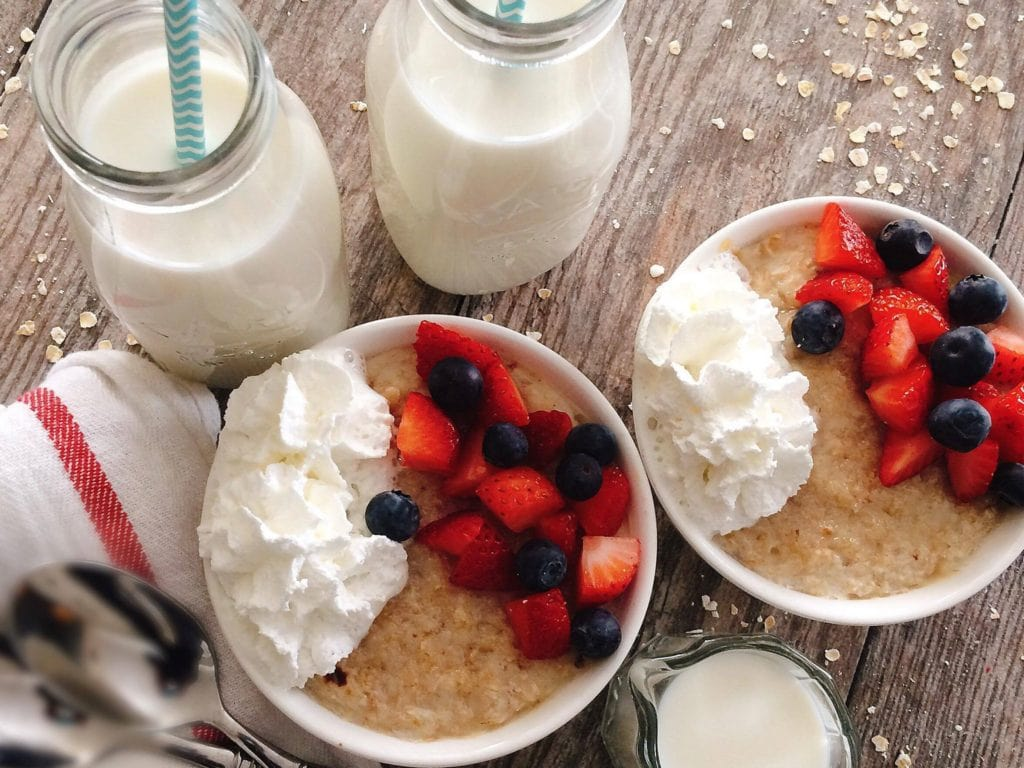Creamy Half Baked Oatmeal made with Milk