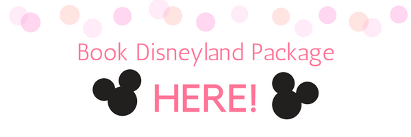Clickable banner with pink polka dots and two Mickey Mouse Heads that says: Book Disneyland Package Here!