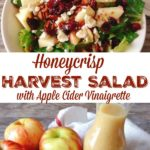 """A picture of a salad and a picture of apples and a jar of apple cider vinaigrette. Text that says, """"Honeycrisp Harvest Salad with Apple Cider Vinaigrette"""""""