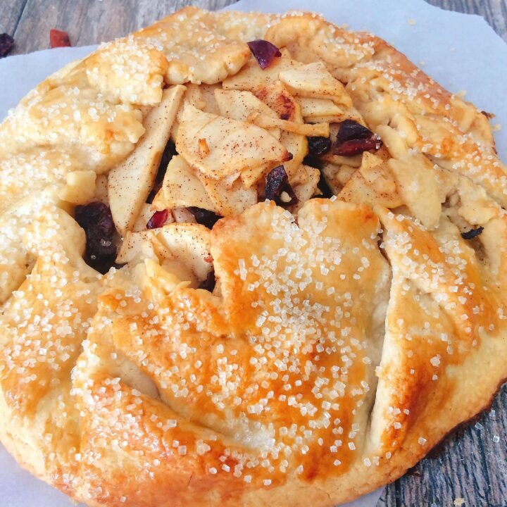 Pie crust wrapped around apple pie filling to make an apple gallette