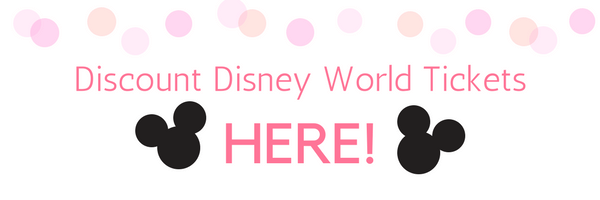 Pink polka-dots, Discount Disney World Tickets button, and two black Mickey Mouse heads.