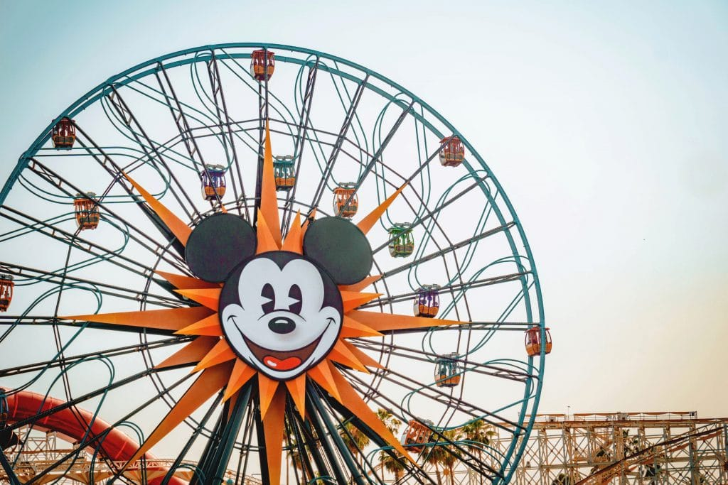 The face of Mickey Mouse on a large Ferris wheel called Pixar Pal-Around at Disneyland.